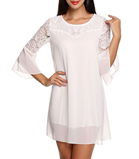 Chiffon Mini Dress – White / Shift Style / Fully Lined Torso