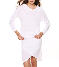 Wrap Style Mini Dress – All White / Elliptical Hemline