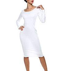 White Bodycon Dress – Scooped Neckline / Long Sleeves