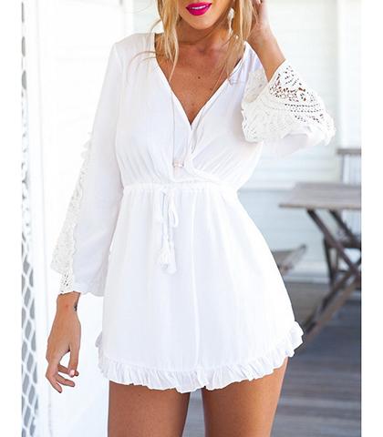 Empire Mini Dress White