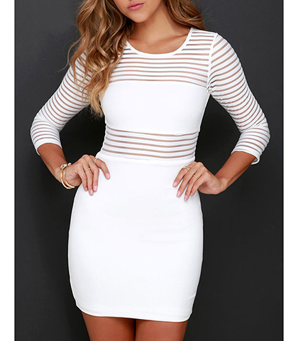 Mini Bodycon Dress – Sheer Panels / Solid White
