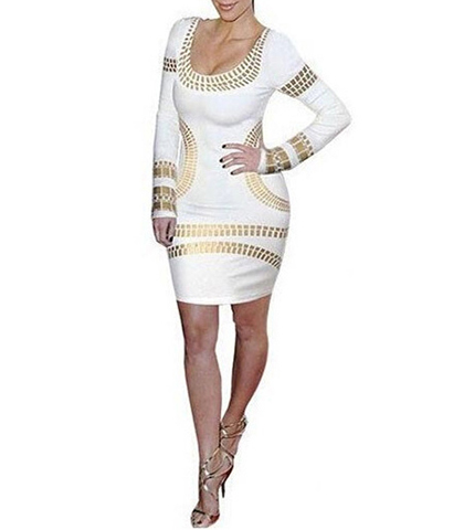 Knee Length Bodycon Dress – Gold White / Metallic Trim