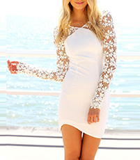 Short Semi-Formal Dress – Off White / Lace Sleeves