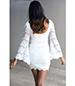 White Mini Dress – Lace Overlay / Bell Sleeves
