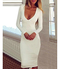 White Knee Length Dress – Deep Scooped Neckline / Cutout Detail