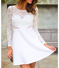 White Dress – Lace Overlay / Side Cutouts / White Bow At The Back