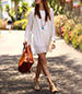 White Hippie Inspired T-Shirt Dress – Bell Sleeves / Lace Accents
