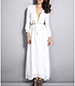 White Long Dress – Long Cuffed Sleeves / Ankle Length / Deep V-Neck