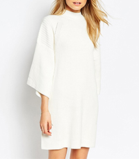 White Sweater Dress – Dropped Shoulders / Mock Turtle Neck Collar