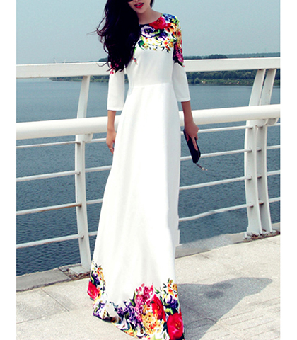 3dd95ba6854d1 White Maxi Dress – Floral Detail / Three Quarter Length Sleeves