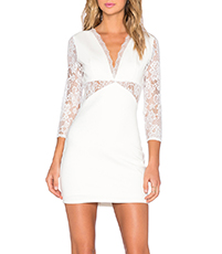 Long Sleeves White Lace Dress – Cutout Panels