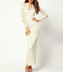 White Maxi Dress – Lace Embellishments / Long Sleeves