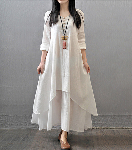 Loose Fitting Layered Maxi Dress – Off White / Long Sleeves