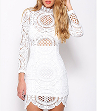 Mini Bodycon Dress – Semi-Sheer Lace Detail / White