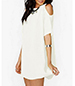 White Sheath Dress – Cold Shoulder / Narrow Trim / Short Sleeves / High Hem