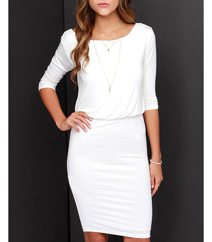 White Knee Length Dress – Fitted Skirt / Three Quarter Length Sleeves
