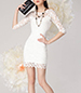 Lacy Mini Dress – Elbow Length Sleeves / White Lining / Sweetheart Bodice