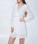White Chiffon Dress – Long Puffy Sheer Sleeves / Wide Cuffs / Tied Sash Waist