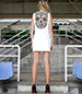 White Shift Dress – Lace Skull Back Design / Round Neckline / Short Hem