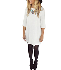 White Loose Dress – Knife Pleats / Round Neckline / Three Quarter Sleeves