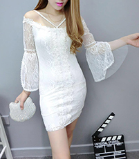 Summer Lace Chiffon Dress – White / Long sleeves