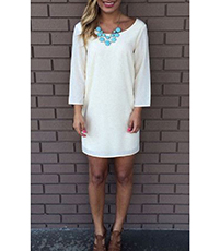 White Chiffon Dress – Bracelet Length Sleeves / Layered Lace Back / Round Neckline
