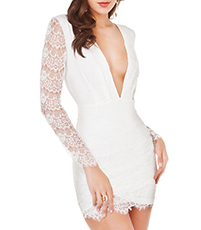 White Cocktail Dress – Lace Sleeves / Backless / Button Hook Closure / Metal Zipper