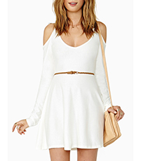 Cute Cold Shoulder Culotte Dress – All White / Low Scooped Neckline