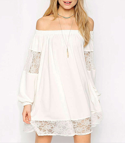 Bardot dress – White / Off The Shoulder / Lace