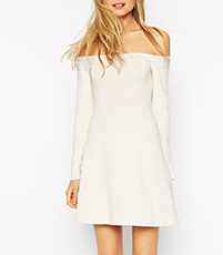 Belle Bardot Skater Dress – White / Off The Shoulder / A Line