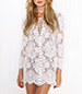 Shoestring Tie Mini Dress – White / Long Sleeves / Scalloped Hemline Edge / Lace Outer Layer
