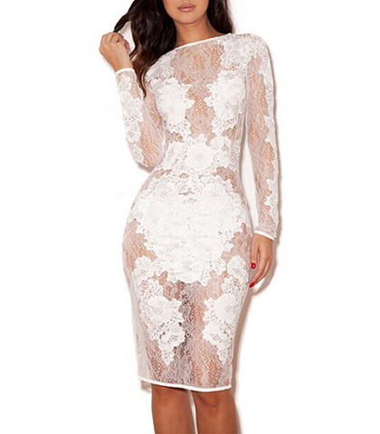 White Semi-Sheer Dress – Lace Overlay / Opaque Lace Inserts / Long Sheer Sleeves