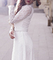 White Long Sleeve Maxi Lace Dress – Button Down Front / Wide Lapel Collar / Belt
