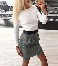 Long Sleeved Mini Dress – White Top / Gray Tweed Skirt