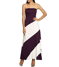 Striped Maxi Dress – Strapless Style / Bold Contrast Design