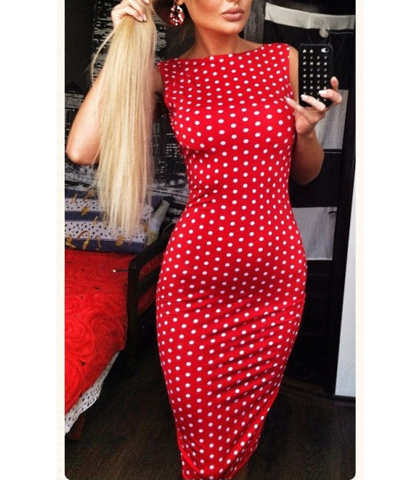 Tight Red White Dress – Body Hugging / Polka Dots / Round Neckline / Knee Length Hem