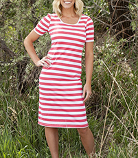 Knee Length Striped Dress – Short Sleeves / Round Neckline
