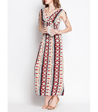 Bohemian Maxi Dress – V-Neck Bodice / High Waist / Tied Shoulders / Sleeveless