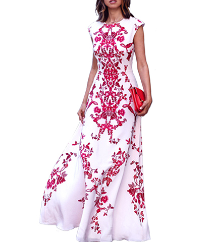 Maxi Dress White With A Red Floral Pattern Capped Sleeves