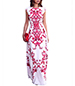 Maxi Dress – White with a Red Floral Pattern / Capped Sleeves