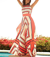 Maxi Dress – Red White / Geometric Print / Horizontal Stripes