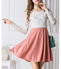Flared Skirt Dress – White Lace Top / Coral