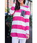 Tunic Top – Bold Horizontal Stripes / Hot Pink and White