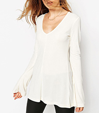 Womens Tunic Top – Deep V Neckline and Bell Sleeves / White
