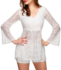 Sweet and Lacy Top – Laced Bell Sleeves / White