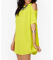 Cold Shoulder Bright Yellow Dress – Medium Sleeves / Narrow Binding Edge / Curved Hemline