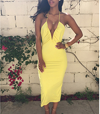 Halter Dress – Yellow / Plunging Neckline / Gathered Bodice / Crossover Spaghetti Straps