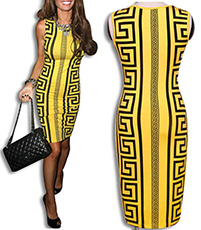Sleeveless Bodycon Dress – Symmetrical Grecian Border Pattern / Rounded Trimmed Neckline
