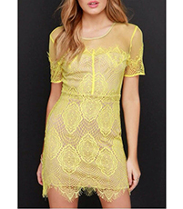 Lace Dress – V-Neckline Front and Back / Lined / Crochet Lace Overlay / Zippered Closure