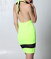 Florescent Bodycon Halter Dress – Contrasting Self Ties at Neck / Black Mesh Insert
